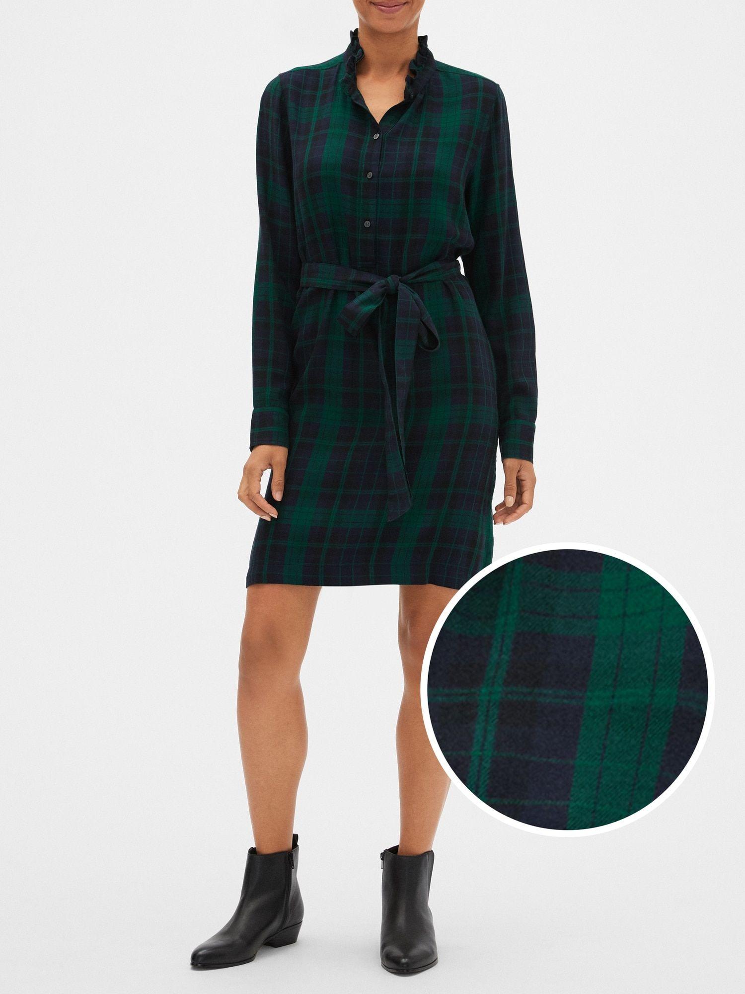 Plaid Ruffle Neck Shirtdress Gap Factory Jumpsuit Dress Shopping Womens Dresses Shirt Dress