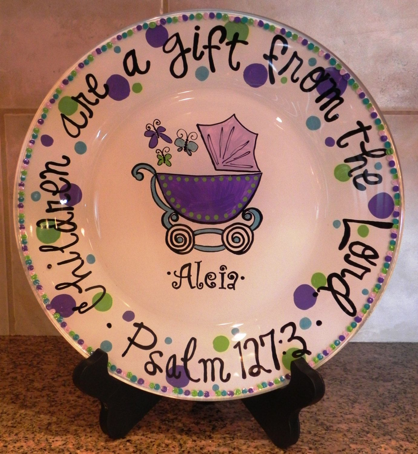 Baby Carriage Plate Made To Order By Sassypeasdesigns On Etsy