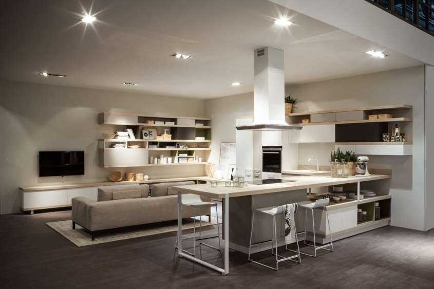 cucina salone open space moderno