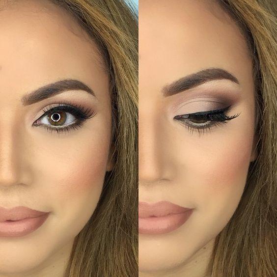Nackte Hochzeit Braut Make-up Inspiration | Natürliches Prom Make-up für braune Augen, ...