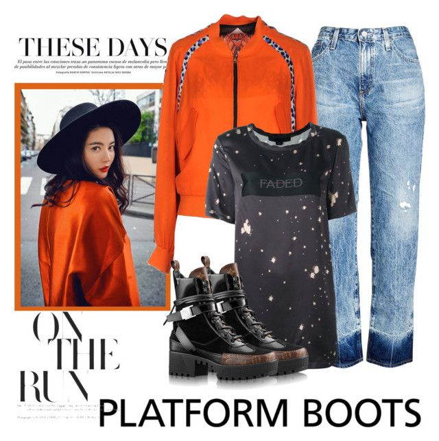 """Kickin' it: Platform Boots"" by janie-xox ❤ liked on Polyvore featuring AG Adriano Goldschmied, Just Cavalli, Alexander Wang and PlatformBoots"