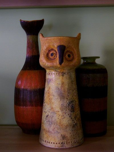 Bitossi Studios ceramic pieces: in the rear, two Lobster vases, designed by Aldo Londi, imported by Raymor.  Front, owl vase, possibly by Aldo Londi, imported by Rosenthal Netter.