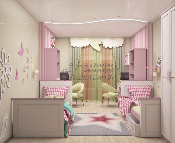дизайн детской для двух девочек For Home Girls Room Design