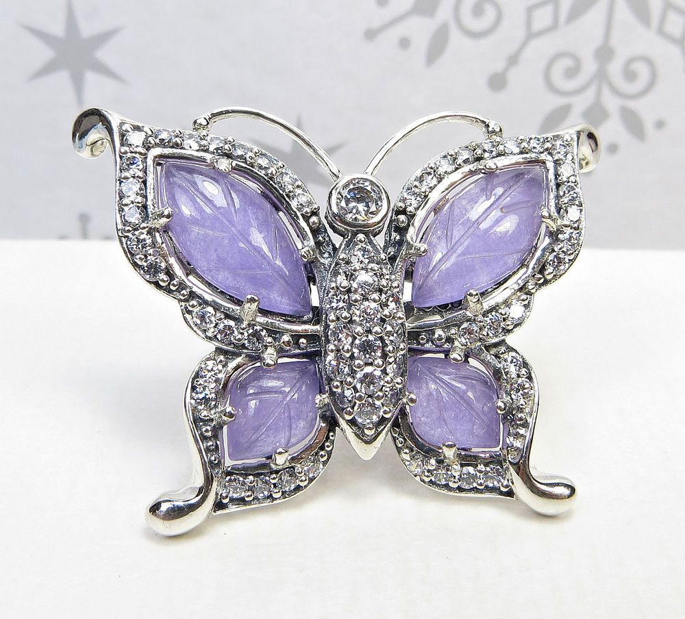 STERLING SILVER LAVENDER JADE OF YESTERYEAR BUTTERFLY RING