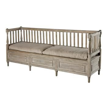 French Country Weathered Gray High Back Storage Bench Sofa