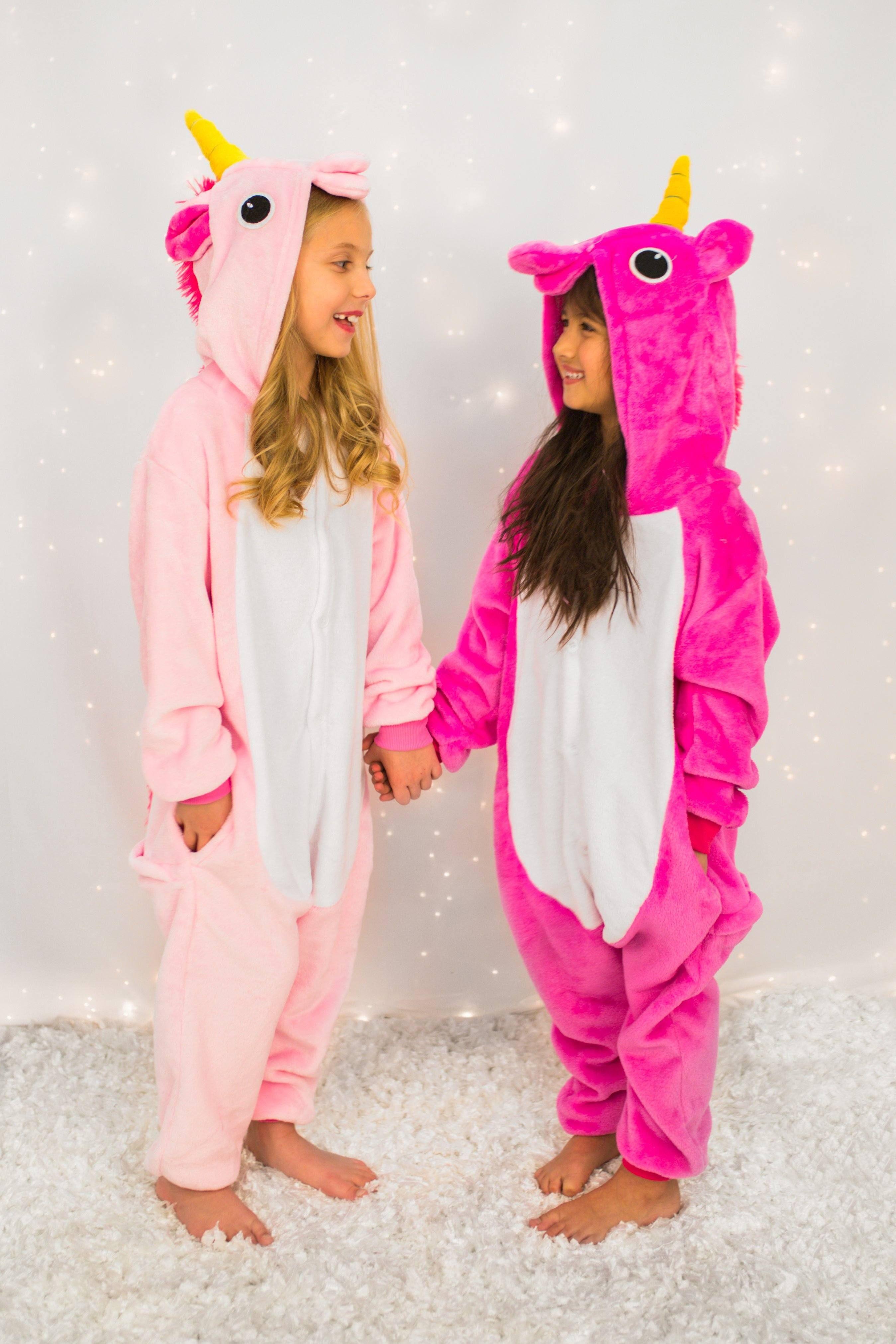 KIDS MULTI-COLOUR UNICORN BATH ROBE or ALL-IN-ONE Warm Winter Fleece Pyjamas UK
