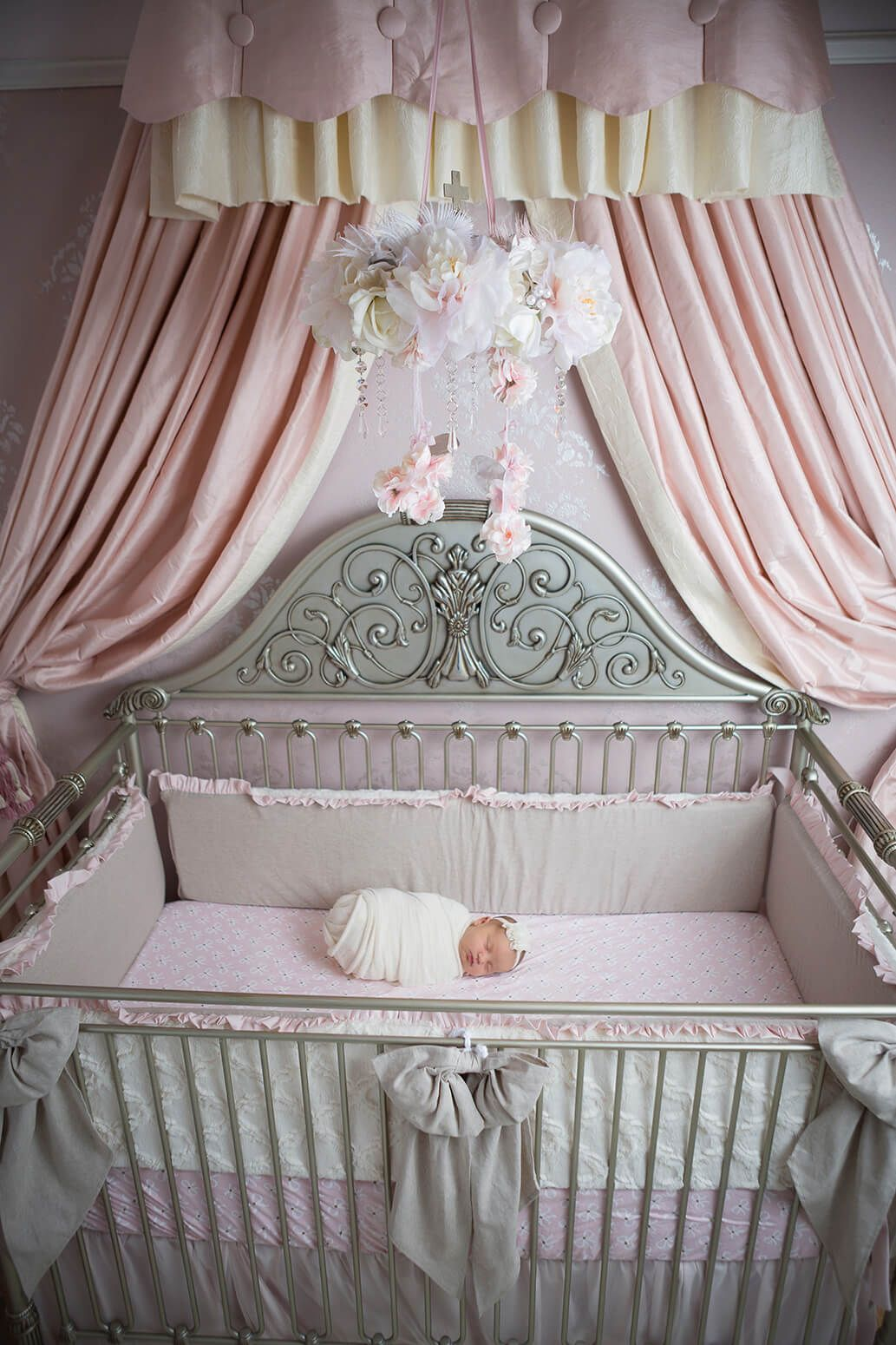 Newborn In A Custom Pink And Gray Nursery With Caden Lane Couture Bedding