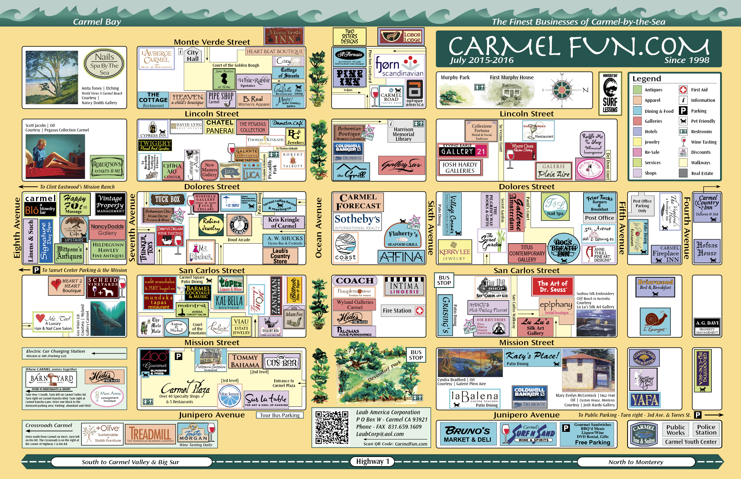 CarmelFun Map 2015 A source for places to shop dine stay play