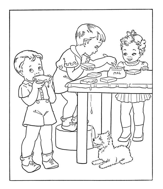 Kids Eating Bread With Peanut Butter Coloring Pages Food Coloring Pages Coloring Pages Cartoon Coloring Pages