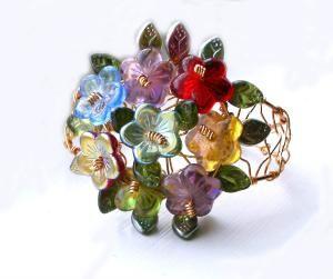 Les Flueres de Vitraux Bracelet  Czech Glass by SweetSincerity