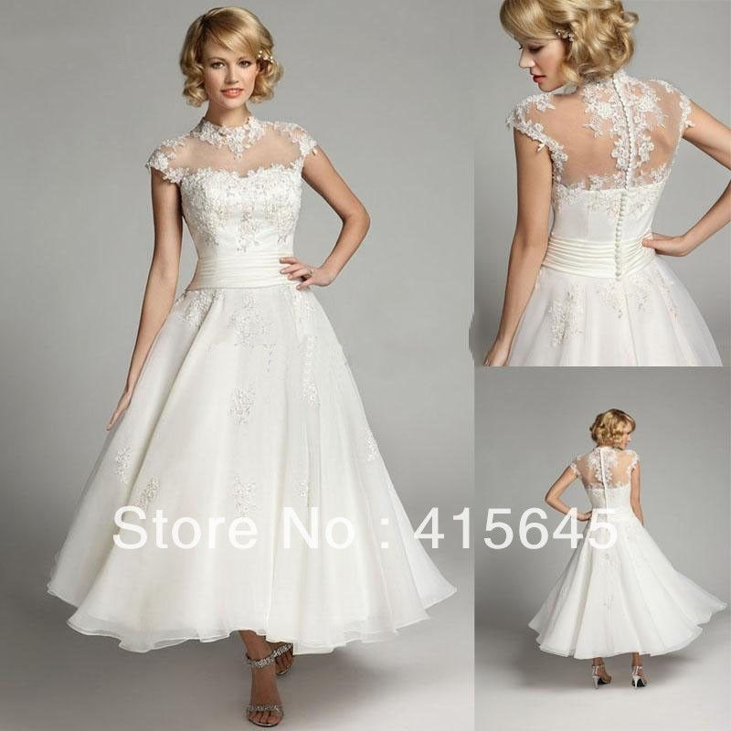 WhiteIvory Lace Wedding Dress Bride Gown Size 2 4 6 8 10 12 14 16 - Mid Length Wedding Dresses