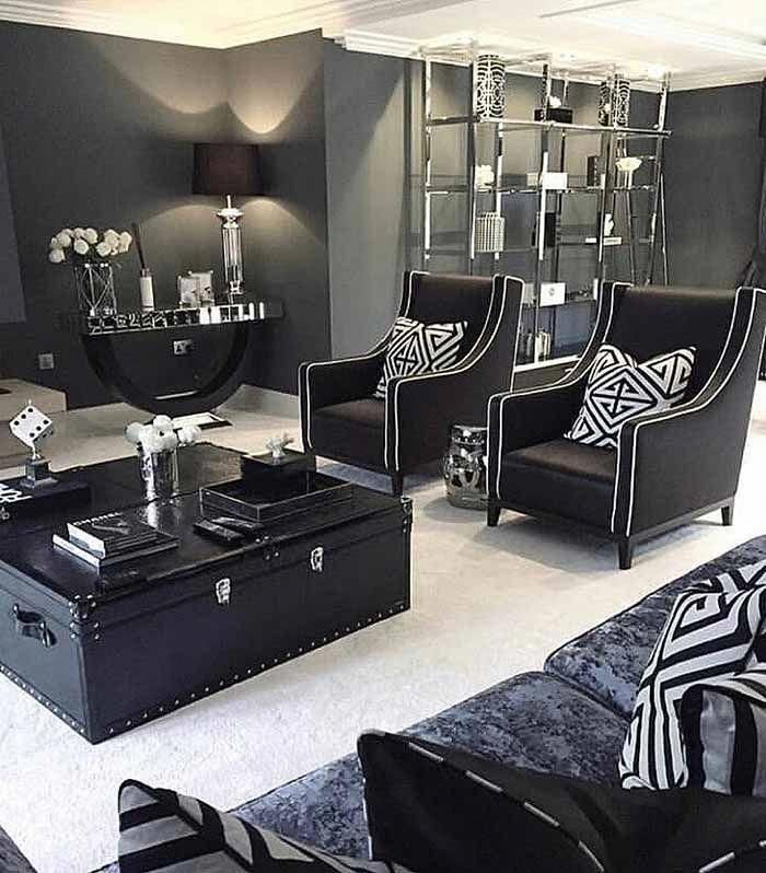 Art Deco Living room, black and white living room, B&W ...