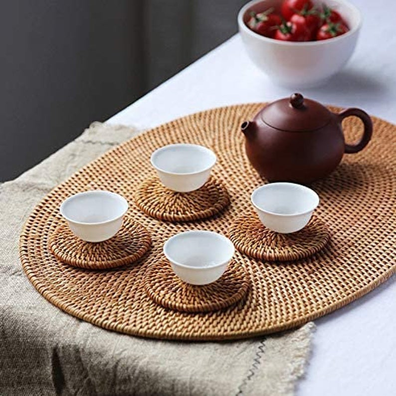 Oval Rattan Handmade Placemat Braided Mat Heat Resistant Hot Etsy Table Settings Everyday Natural Placemats Rattan