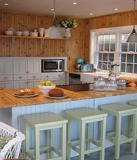 Knotty Pine Kitchen White Cabinets Off Bar Stools