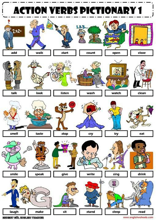 English Vocabulary - action verbs - in 2018 Education - Verbs
