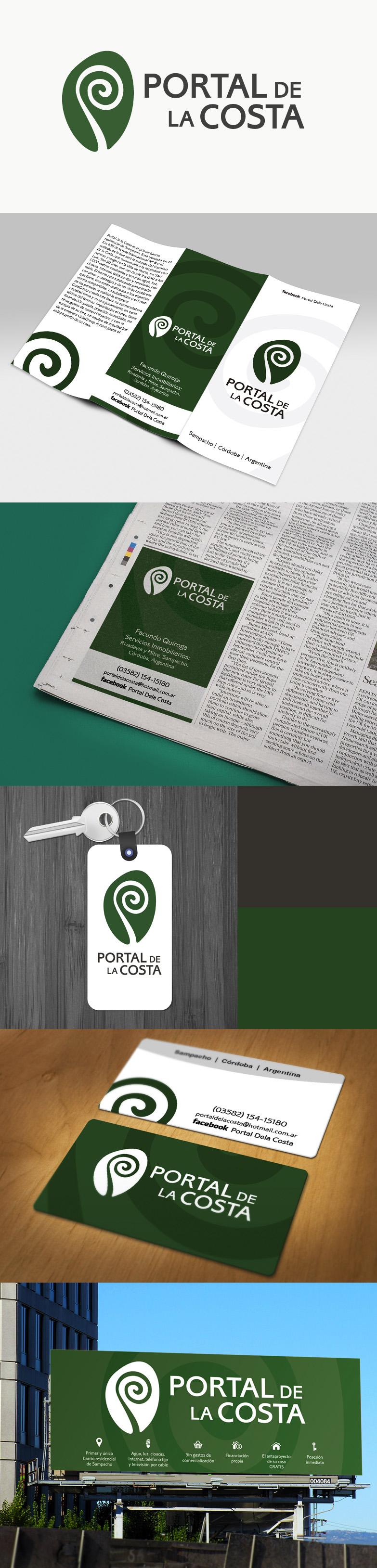 Desarrollo realizado para Portal de la Costa. Emprendimiento inmobiliario. Identidad corporativa. Papelería comercial. Aplicaciones específicas.