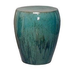 TEAL CERAMIC GARDEN STOOL, Glossy, END Or SIDE TABLE, Indoor Or Outdoor