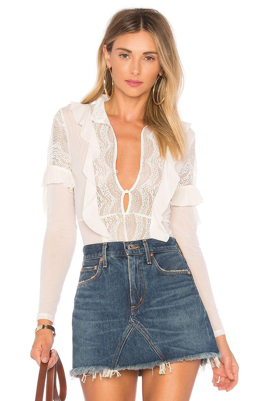 Lace bodysuit high neck  For Love u Lemons Eva Lace Ruffle Bodysuit in Ivory  REVOLVE