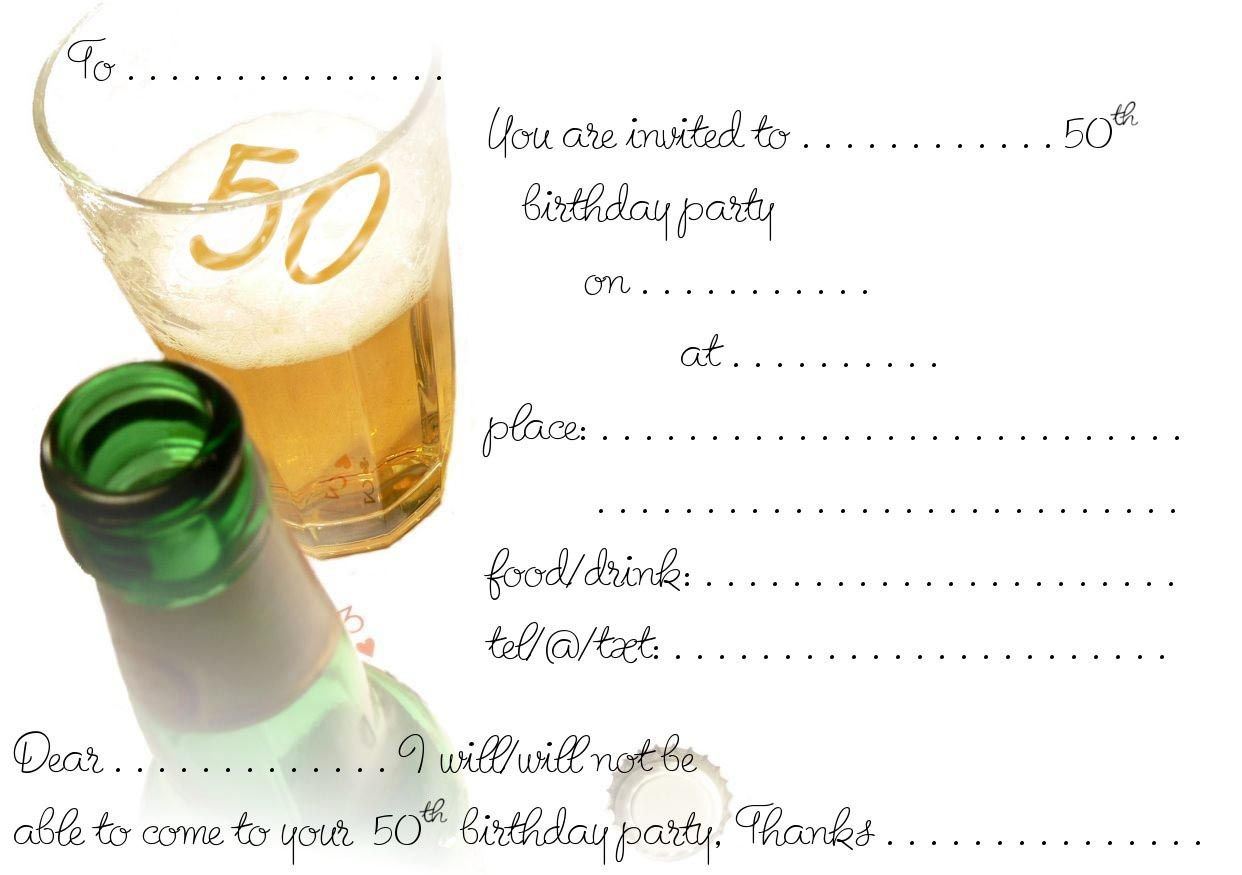 Free Printable 50th Birthday Invitations Free Printable Birthday