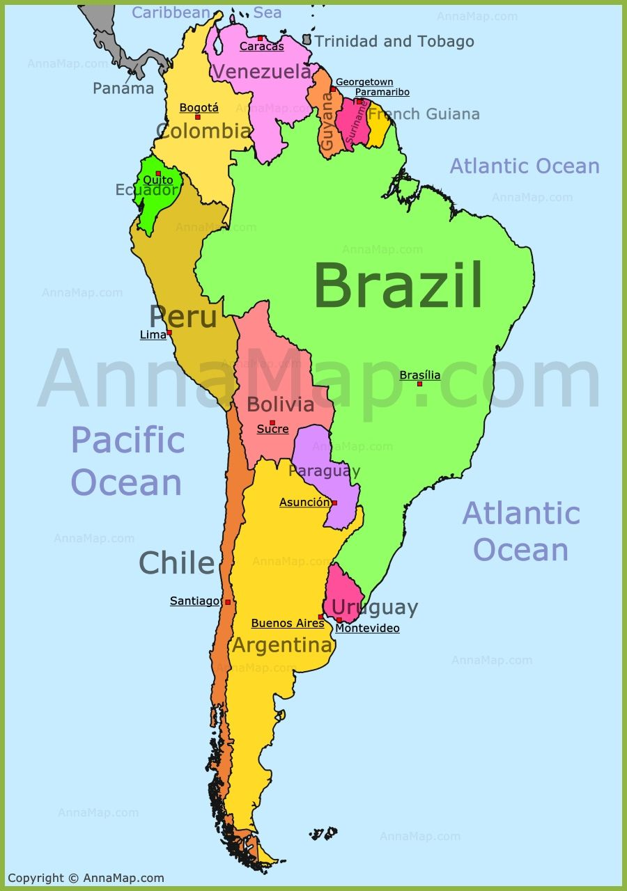 Map Of South America Nations Online Project With Soth ...