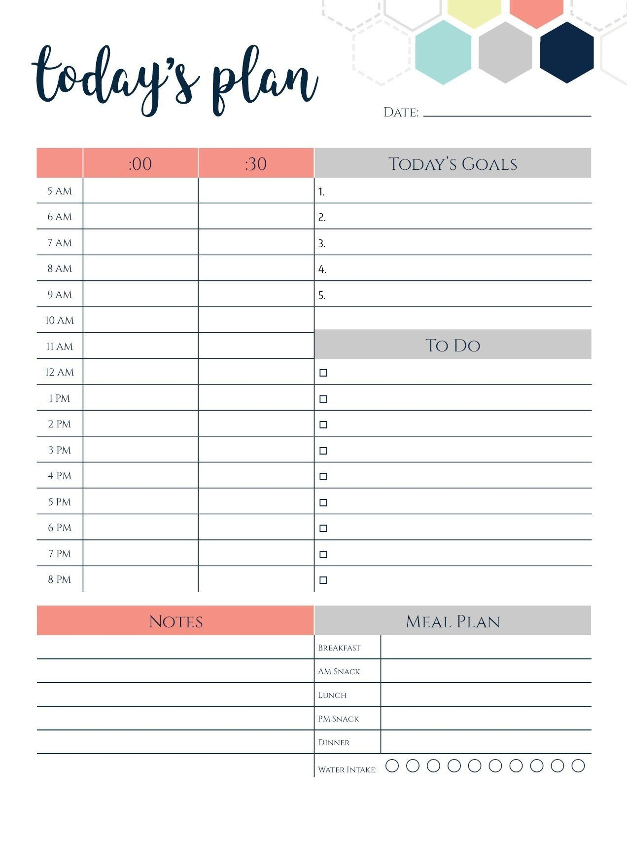 Daily Calendar Template Today S Plan
