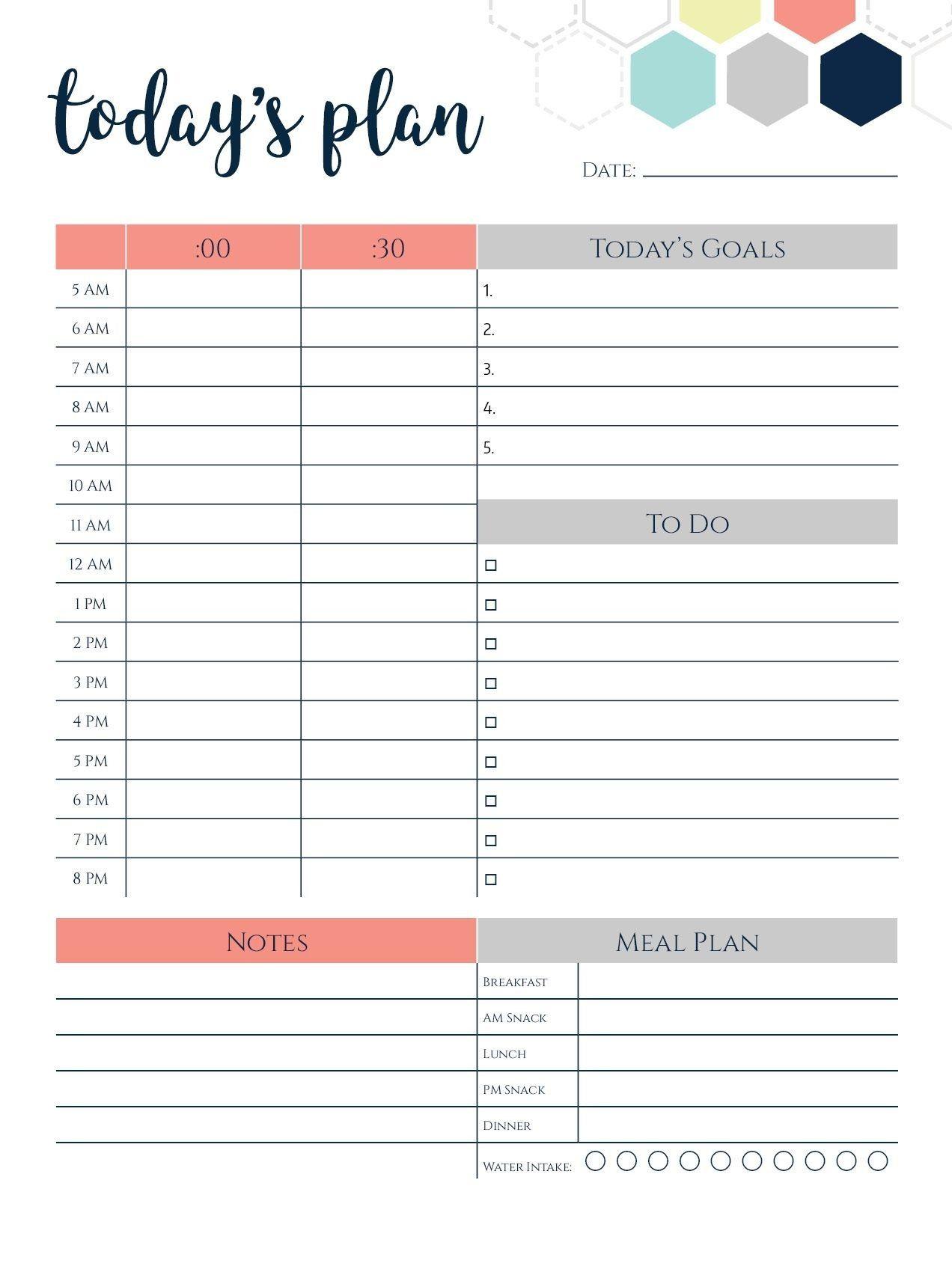 Daily Calendar Template Today S Plan