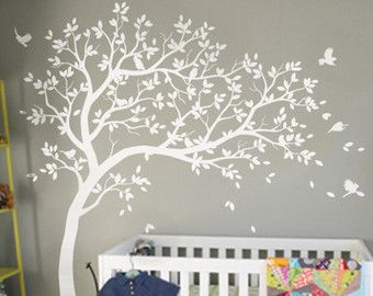 White Tree Decal Large Nursery Tree Decals With Birds Unisex White - Wall decals in nursery