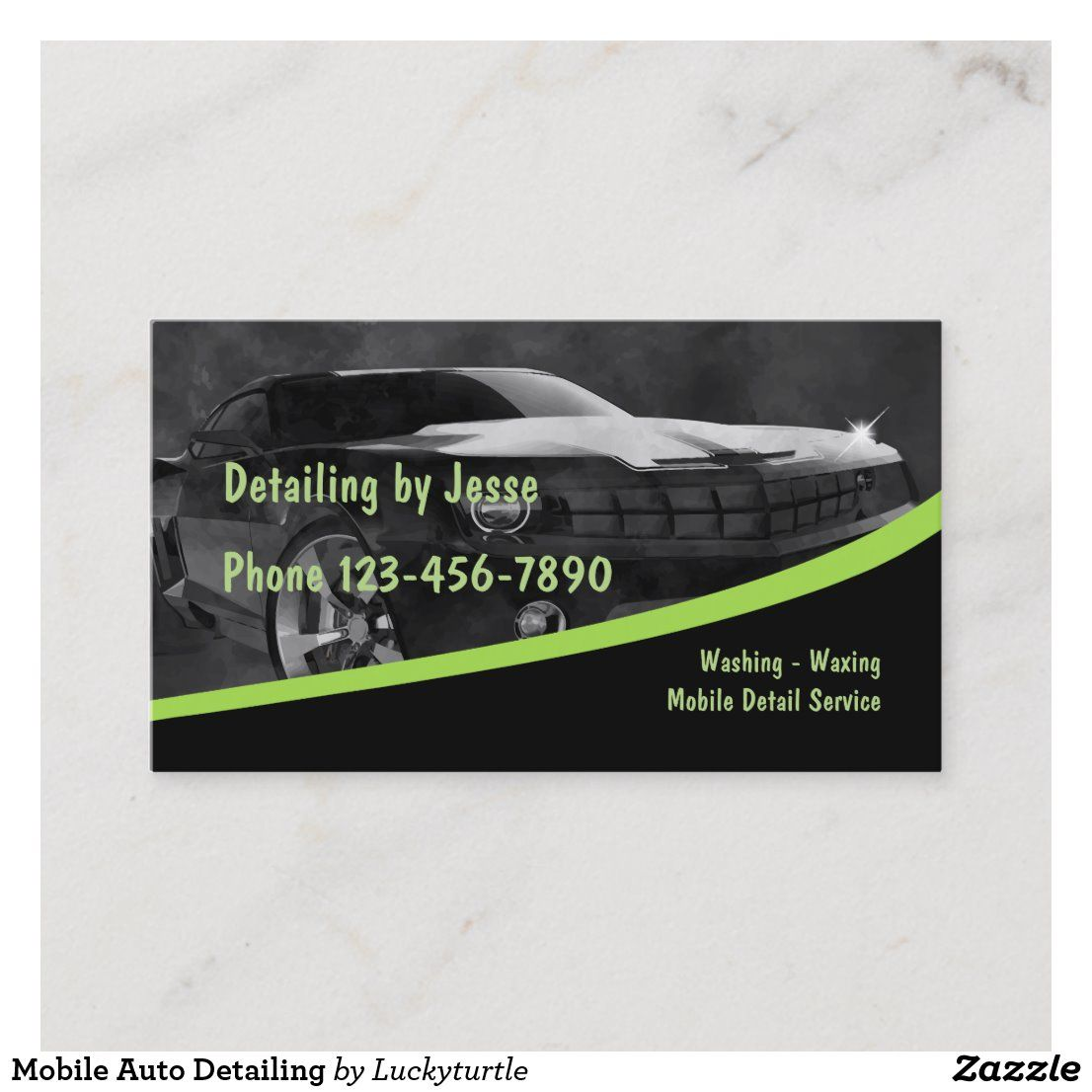 Mobile Auto Detailing Business Card Car