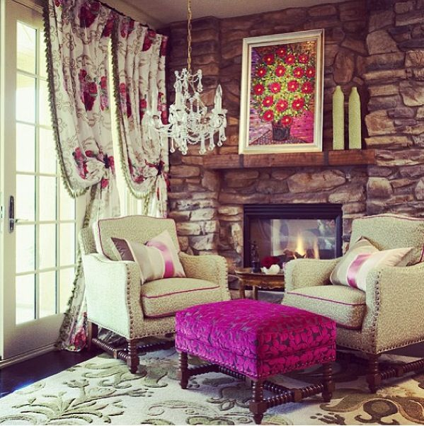 Putting color against exposed brick. Warm and cozy, #living, #mountain
