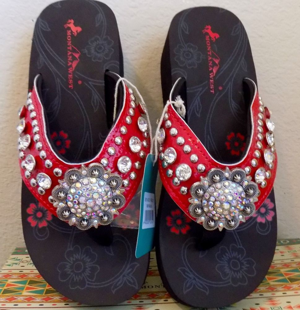 5c7a3d337 Montana West RED Wedge Flip Flops Sandals Large Flower Concho Rhinestones  Bling  MontanaWest  FlipFlops