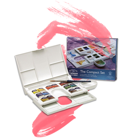"Cotman Watercolor Set - Compact Set || This 4"" x 5"" x 1"" compact set is ideal for the beginning artist on the go. Economically-priced, the set contains fourteen half pans of student-grade watercolors and a field brush. A detachable water cup and a removable mixing tray are also included."