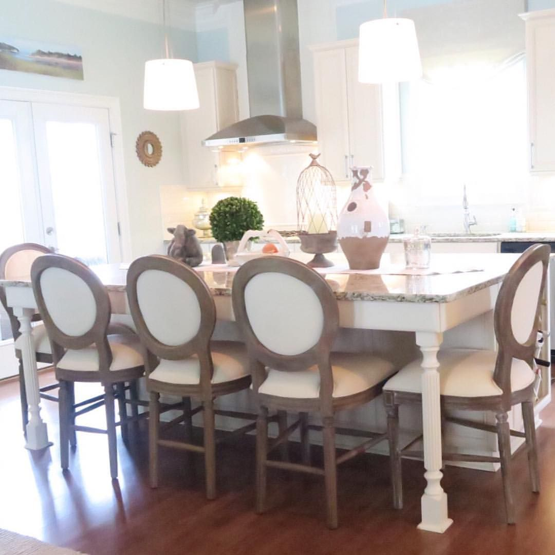 Large kitchen island with World Market counter stools, Pottery Barn ...