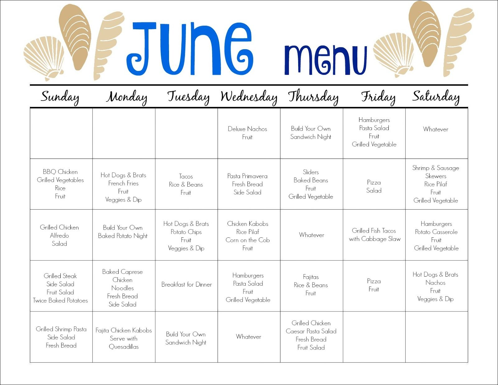 June Meal Plan For Families Amp Free Printable