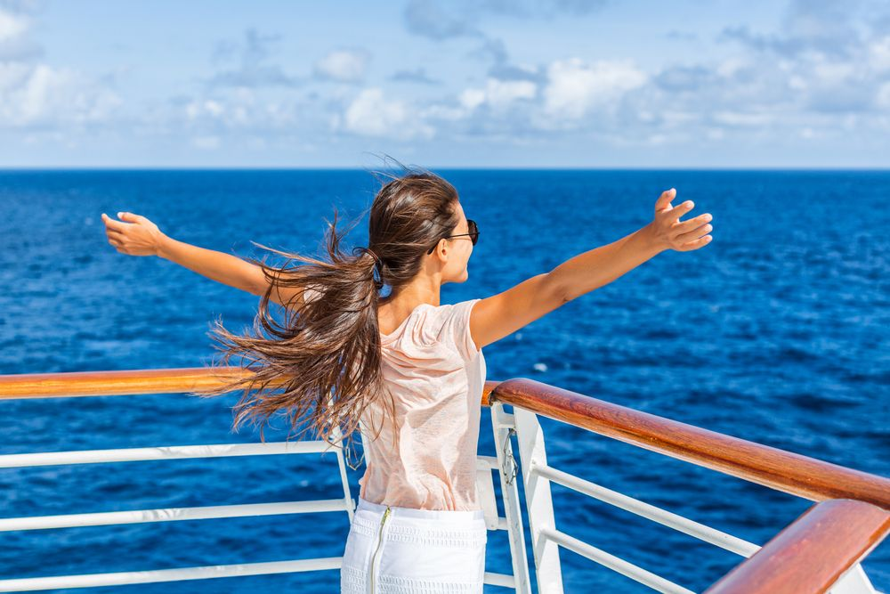 Woman alone on a cruise