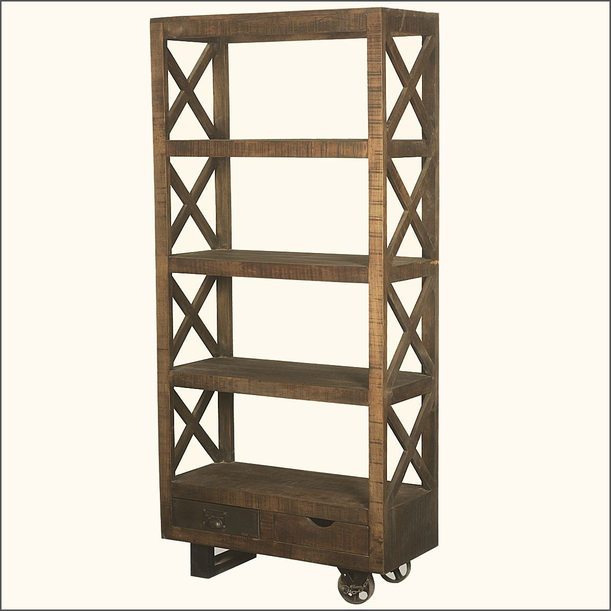 Tower Mango Wood Rolling 76 4 Shelf Bookcase W 2 Drawers