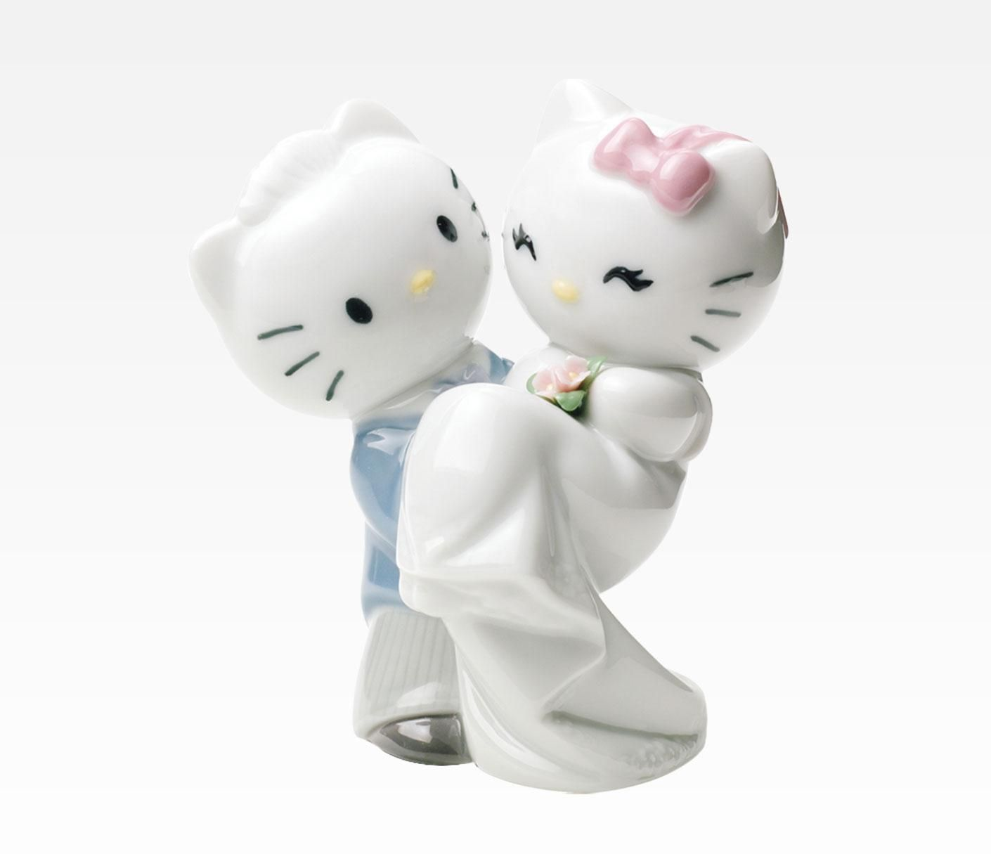 Nao By Lladro Porcelain Figurine Hello Kitty And Dear Daniel Wedding In Occasion