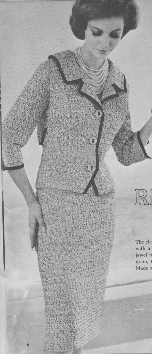 167 PDF Chanel Style Suit Crochet Pattern, Ladies Jacket and Skirt ...