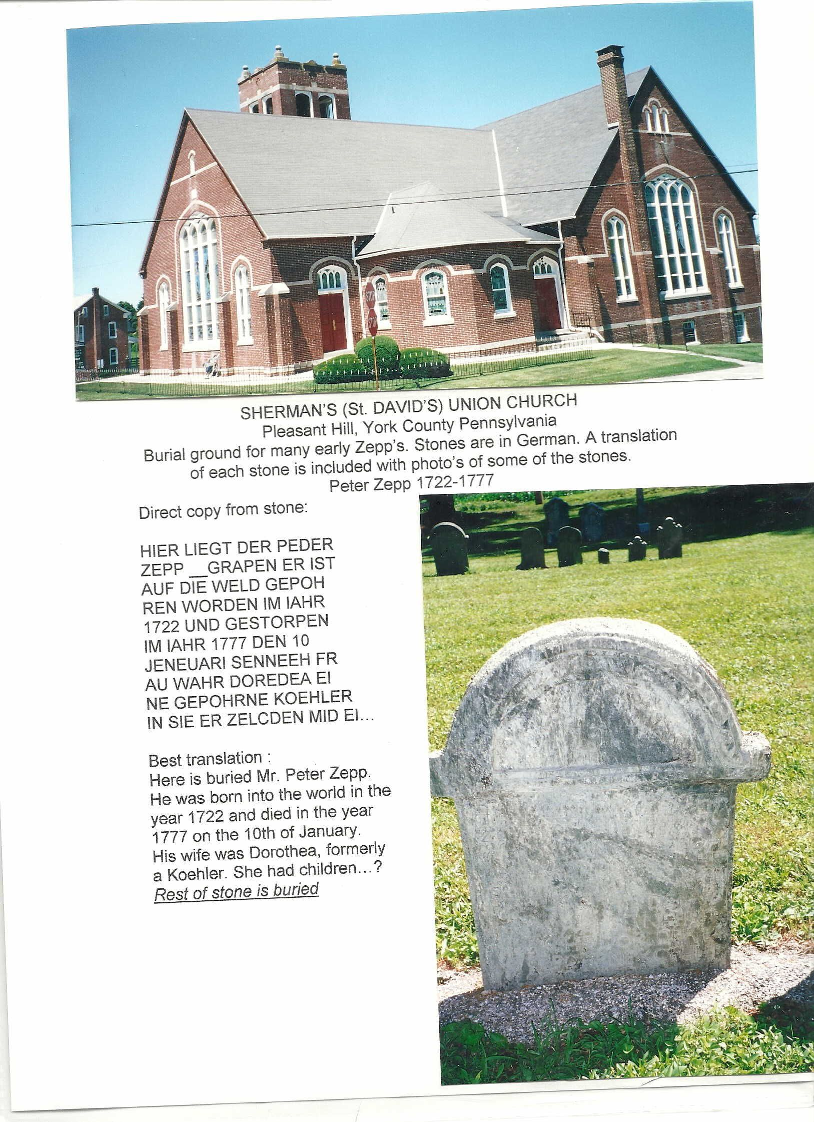 Grave Marker Peter Zepp 1722 17770001 Grave Marker Pleasant