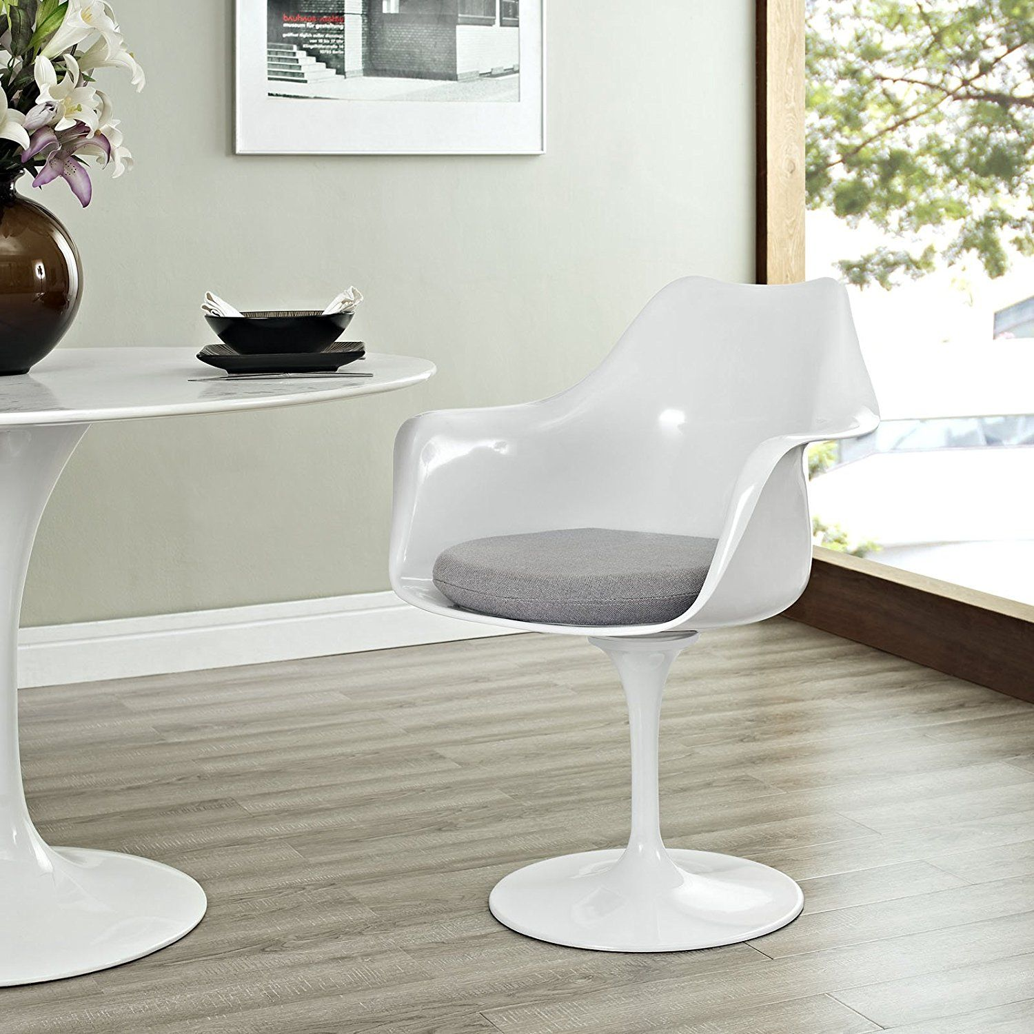 Awe Inspiring Lexmod Eero Saarinen Style Tulip Armchair With Red Cushion Andrewgaddart Wooden Chair Designs For Living Room Andrewgaddartcom