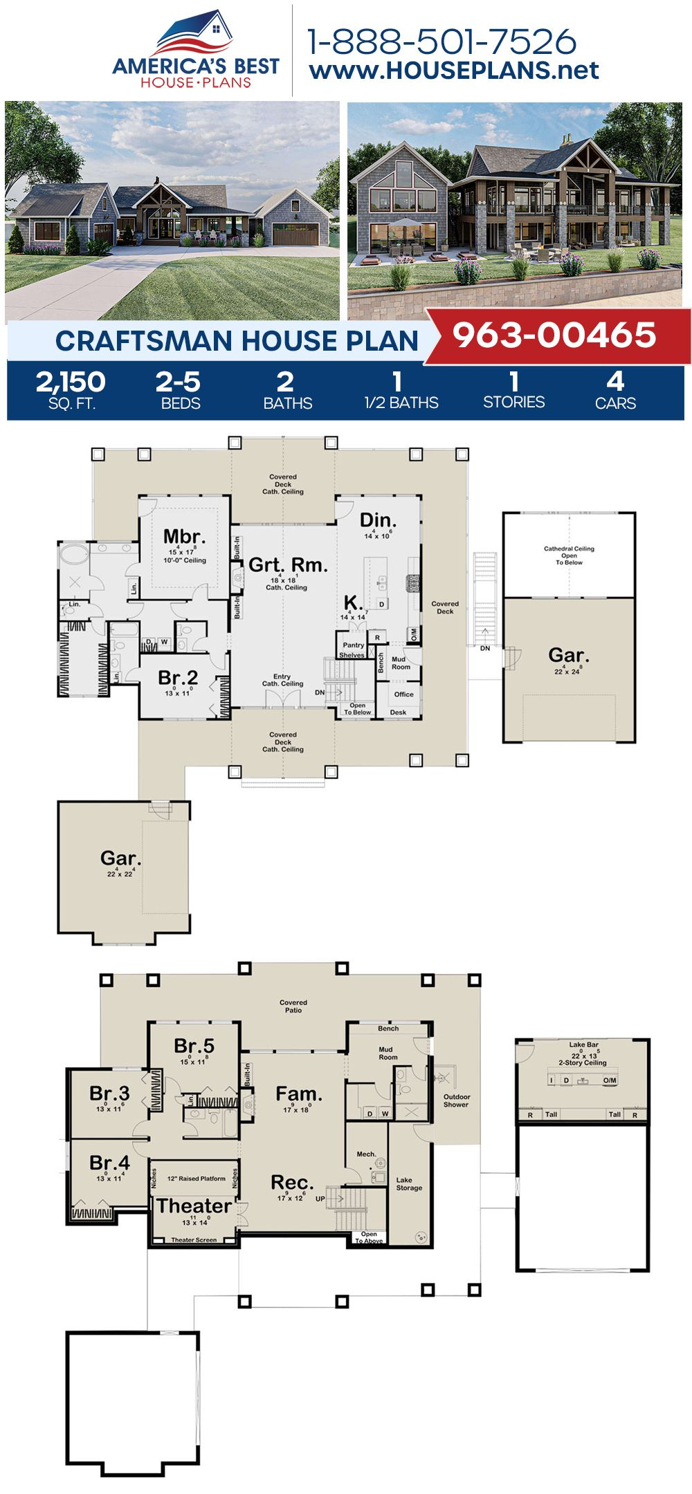House Plan 963 00465 Craftsman Plan 2 150 Square Feet 2 5 Bedrooms 2 5 Bathrooms In 2020 Lake House Plans Craftsman House Plan House Plans