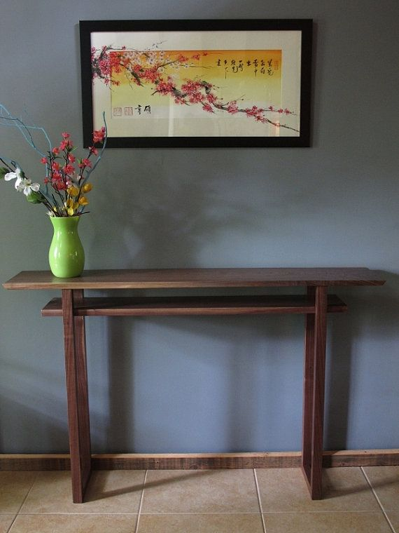 Narrow walnut entryway console table: modern foyer table, narrow ...