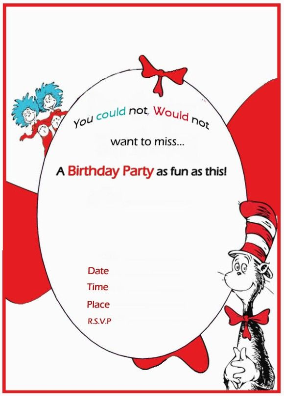 Dr Seuss Birthday Invitation free template Invitations Online Dr