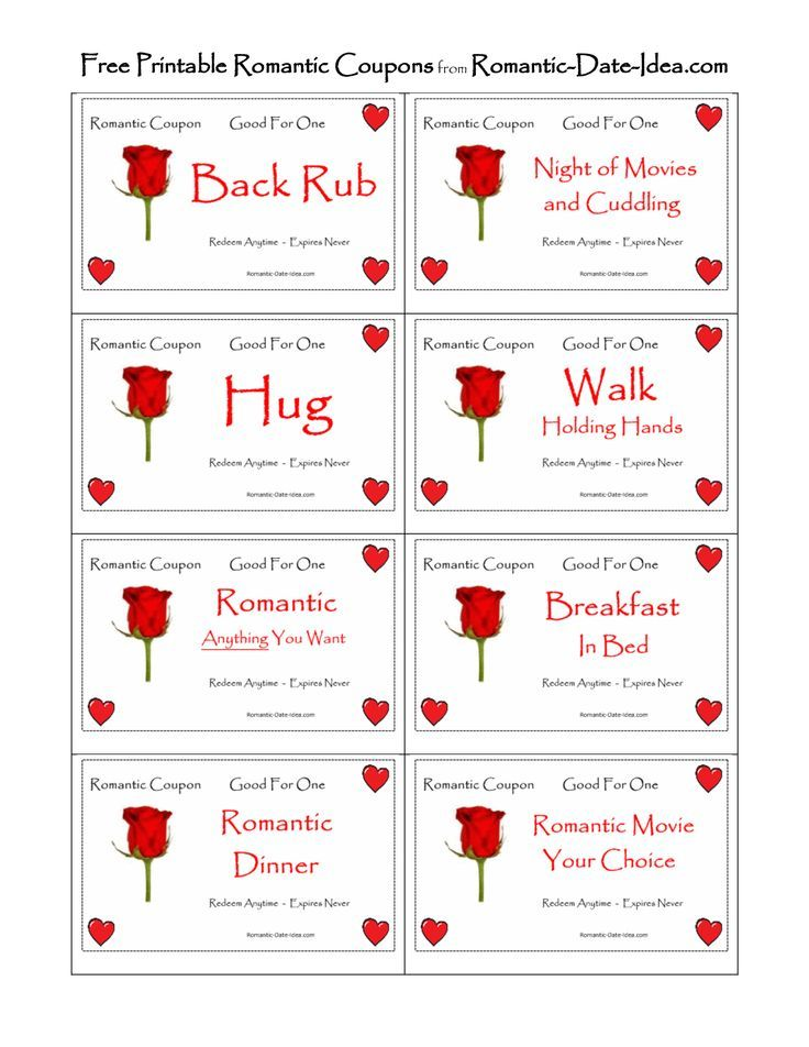 Romantic Love Coupon Printable  Free Romantic Printables