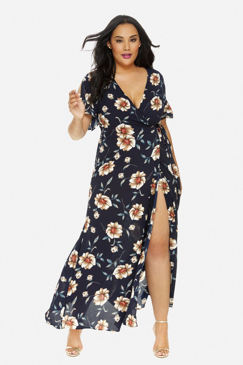 594d8bc6d8c Plus Size Floral Maxi Wrap Dress