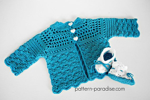 Crochet Pattern Cardigan and Booties Shelly PDF 12-107