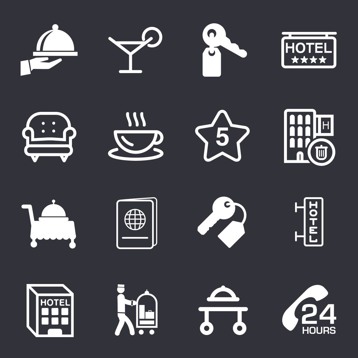 Free Hotel Icons Set Psd Pictogramme Hotel Photos