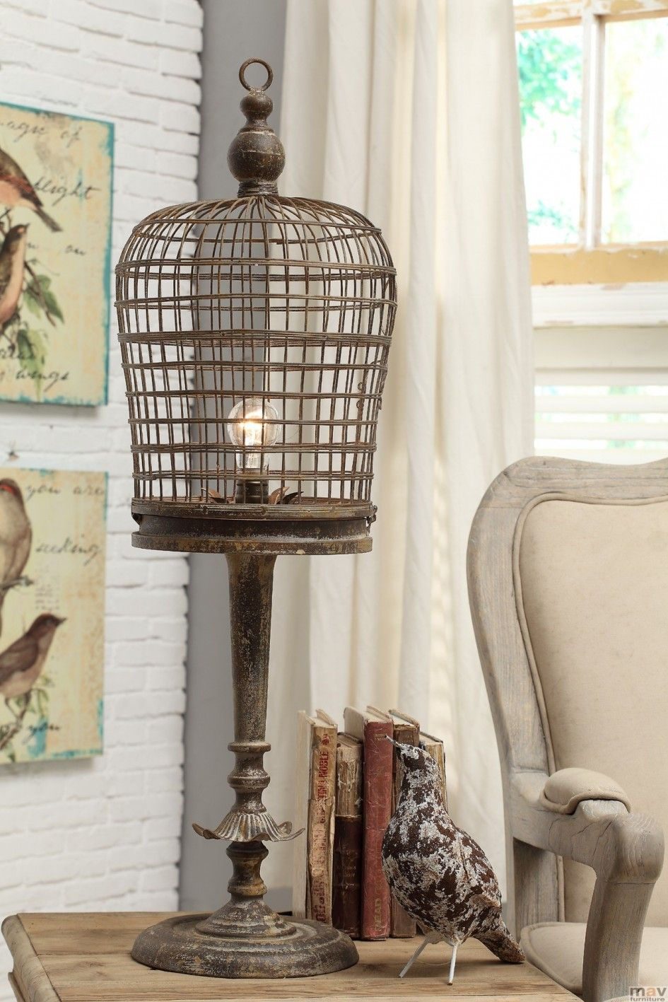 Decoration vintage birdcage table lamp iron material bark brown decoration vintage birdcage table lamp iron material bark brown finish bulb light decorative accent modern home geotapseo Image collections