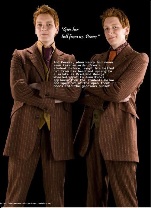 Fred George Peeves Harry Potter Book Quote Fred And George Weasley Harry Potter Book Quotes George Weasley