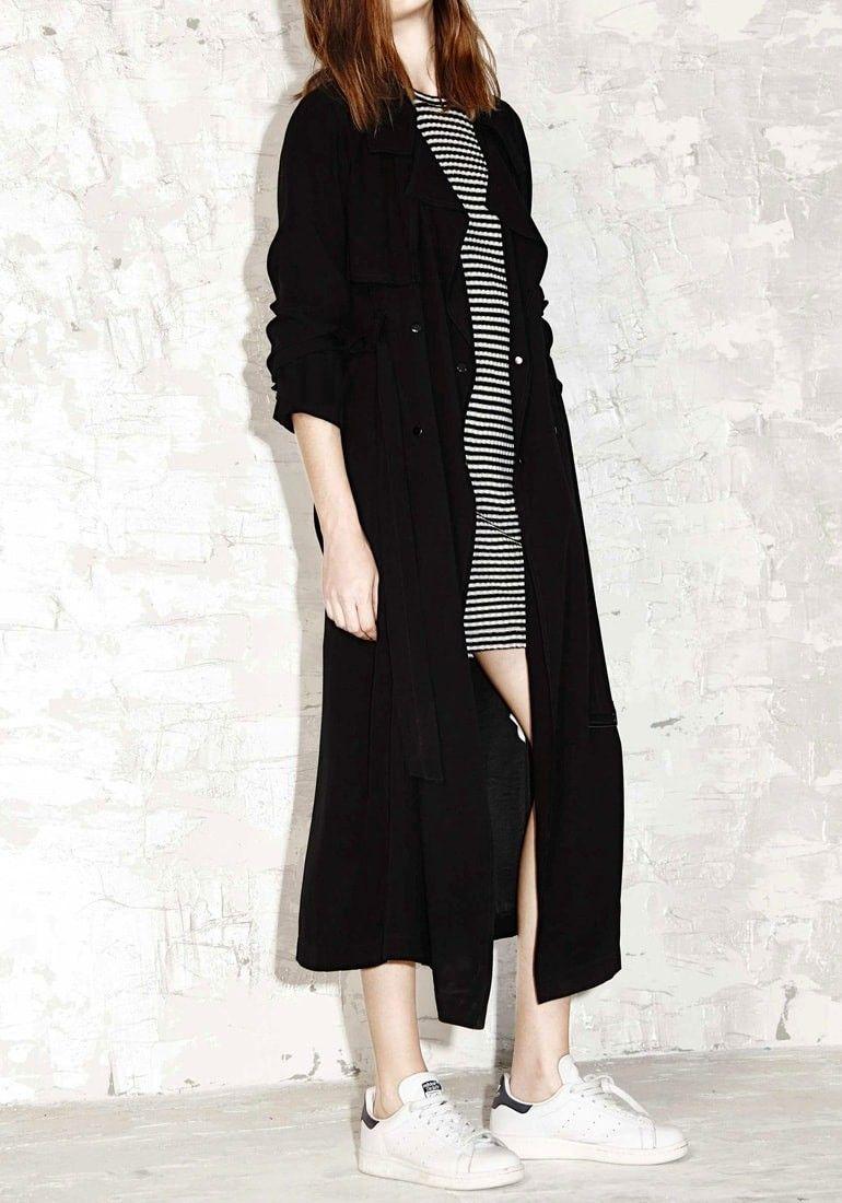 Black Longline Double-Breasted Coat