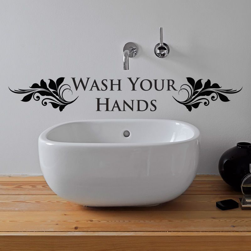 wash your hands bathroom wall sticker vinyl art decal toilet quotes w105